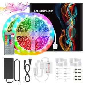 Chesbung Led Strips Lights 10M(33ft) Sync with Music 44Keys RF Remote 5050 RGB 16 Colors Color Changing Rope Lights for Indoor/Outdoor Living Room Bedroom Decoration
