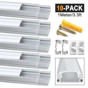 10 Pack 1Meter/3.3ft U-Shape Led Aluminum Channel, Led Aluminum Profile with Milky White Cover. LED Channels and Diffusers with End Caps and Mounting Clips for Flex/Hard LED Strip Light