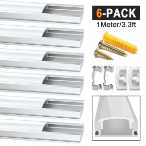 6 Pack 1 Meter/3.3ft Led Aluminum Profile, Aluminum Channels for LED Strip Light Installations, U-Spape Internal Width 12mm Channel System With Milky White Cover, End Caps and Metal Mounting Clips - Silver