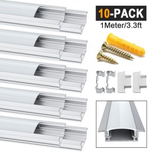 10 Pack 1Meter/3.3ft YW-Shape Led Aluminum Channel, Led Aluminum Profile with Milky White Cover. LED Channels and Diffusers with End Caps and Mounting Clips for Flex/Hard LED Strip Light