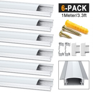 6 Pack 1 Meter/3.3ft Led Aluminum Profile, Aluminum Channels for LED Strip Light Installations, YW-Spape Internal Width 12mm Channel System With Milky White Cover, End Caps and Metal Mounting Clips - Silver