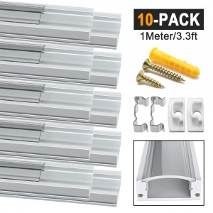 LED Aluminum Channel Profile U-Shape Transparent 10 Pack 1M/3.3ft Aluminum Extrusion Track with Clear Cover End Caps Metal Mounting Clips for Led Strips Lights(U Shape)