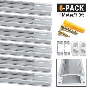 LED Aluminum Channel Profile U-Shape Transparent 6 Pack 1M/3.3ft Aluminum Extrusion Track with Clear Cover End Caps Metal Mounting Clips Screws for LED Strip Lights(U Shape)