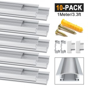 LED Aluminum Channel Profile YW-Shape Transparent 10 Pack 1M/3.3ft Aluminum Extrusion Track with Clear Cover End Caps Metal Mounting Clips for Led Strips Lights(YW Shape)