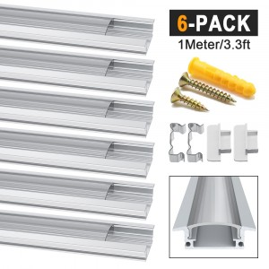 LED Aluminum Channel Profile YW-Shape Transparent 6 Pack 1M/3.3ft Aluminum Extrusion Track with Clear Cover End Caps Metal Mounting Clips Screws for LED Strip Lights(YW Shape)