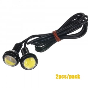 2pcs Daytime Running Lights Source Backup Reversing Parking Signal Lamp Waterproof 18mm Black Led Eagle Eye- ICE BlUE