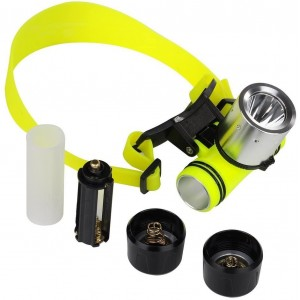 1800Lm CREE T6 LED AAA/18650 Diving Swimming Headlamp Headlight Waterproof Underwater Diving Head Light Flashlight Torch Diver Diving Flashlight with Charger & Protected 18650 Batteries