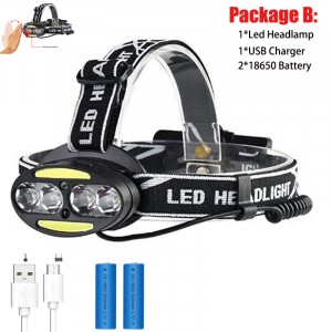 Motion Sensor Headlamp Headlight Cob Head Lamp Rechargeable Waterproof Infrared Induction Head Flashligh Fishing Camping