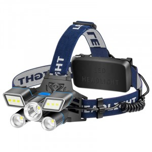 2020 New 9 Modes Red/Blue/White Light LED Head Lamp L2+ 2*T6 LED USB Rechargeable Headlamp with Tail Warning Light(Batteries not included)