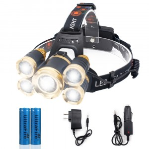 LED Headlamp, 5 LED Headlight, USB Rechargeable Head Lamp Flashlight, 4 Modes Waterproof Zoomable Light 18650 Battery for Outdoors, Household