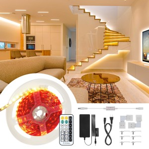 LED Strip Lights Kit 600 LED Strips with RF Remote DC 12V Rope Light Non-Waterproof LED Tape Ribbon Lighting Under Cabinet Lighting Strips 5M (Warm White)