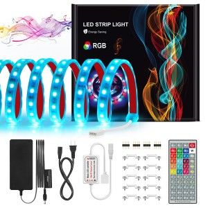 Led Strip Lights Kit 16.4ft 300 LEDs Sync to Music IP67 Waterproof 44Keys RF Remote 5050 RGB 16 Colors Color Changing Rope Lights for Indoor/Outdoor Living Room Bedroom Decoration