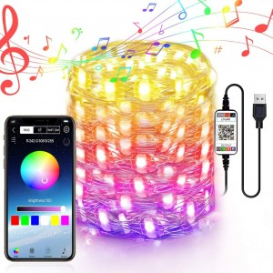 Chesbung LED Fairy Lights USB Powered Fairy String Lights 10M 32.8ft RGB LED String Lights APP Sync Music Starry Light Bluetooth Twinkle Light Plug in Color Changing Wire String Light for Bedroom Patio