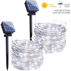 Chesbung Solar String Lights Outdoor Rope Lights, 2 Pack 8 Modes 100 LED Solar Powered Outdoor Waterproof Tube Light Copper Wire Fairy Lights for Garden Fence Yard Party Wedding Decor (Multi Color)