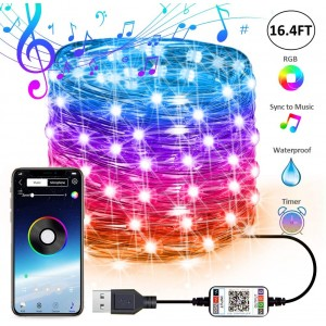 Chesbung Fairy Lights USB Plug in Led String Lights Outdoor Indoor Twinkle Lights Color Changing Fairy String Lights Bluetooth Music RBG String Lights APP Wire Starry String Lights Curtains Bedroom(16.4FT/5M)