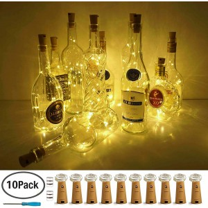 Chesbung Wine Bottle Lights with Cork, 10 Pack Battery Operated LED Cork Shape Silver Wire Colorful Fairy Mini String Lights for DIY, Party, Decor, Christmas, Halloween,Wedding(Warm White)