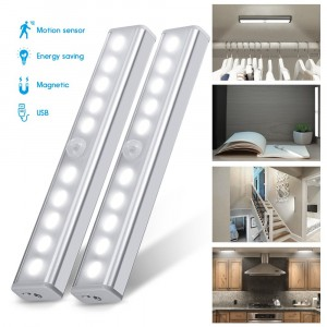 Cupboard Light, [2PCS Cool White] Wardrobe Light, Chesbung Upgraded USB Rechargeable 10 LED Cupboard Light, 3 Modes PIR Floodlight with Stick-on Magnetic Strip and 3M Adhesive for Cabinet Closet [Energy Class A++]