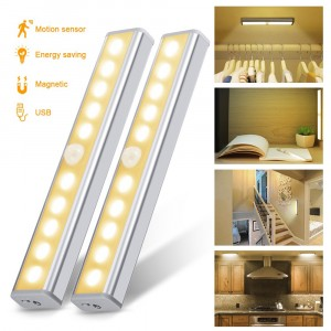 Cupboard Light, [2PCS Warm White] Wardrobe Light, Chesbung Upgraded USB Rechargeable 10 LED Cupboard Light, 3 Modes PIR Floodlight with Stick-on Magnetic Strip and 3M Adhesive for Cabinet Closet [Energy Class A++]