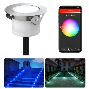 Chesbung Led Decking Lights RGB,12V Ø45mm H26mm with TUYA App Change Colours IP67 Waterproof Lighting for Terrace/Patio/Path/Wall/Garden/Decoration 1PCS