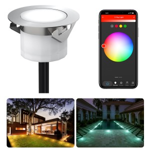 Chesbung Led Decking Lights RGBW,12V Ø45mm H26mm with TUYA App Change Colours IP67 Waterproof Lighting for Terrace/Patio/Path/Wall/Garden/Decoration 1PCS