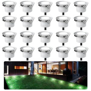 Chesbung Led Decking Lights Waterproof Lighting for Terrace/Patio/Path/Wall/Garden/Decoration (20pcs-Cool Lights)