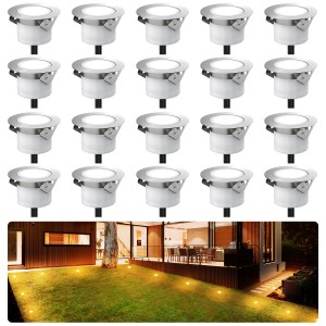 Chesbung Led Decking Lights Waterproof Lighting for Terrace/Patio/Path/Wall/Garden/Decoration (20pcs-Warm Lights)