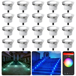 Chesbung Led Decking Lights RGB, 12V Ø45mm H26mm with TUYA App Change Colours IP67 Waterproof Lighting for Terrace/Patio/Path/Wall/Garden/Decoration 20PCS