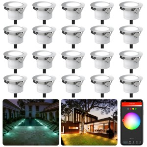 Chesbung Led Decking Lights RGBW,12V Ø45mm H26mm with TUYA App Change Colours IP67 Waterproof Lighting for Terrace/Patio/Path/Wall/Garden/Decoration 20PCS