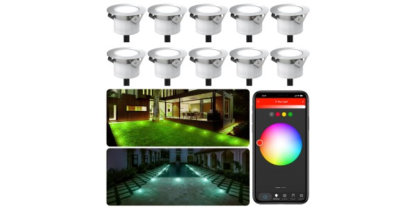 Chesbung Led Decking Lights RGBW,12V Ø45mm H26mm with TUYA App Change Colours IP67 Waterproof Lighting for Terrace/Patio/Path/Wall/Garden/Decoration 10PCS