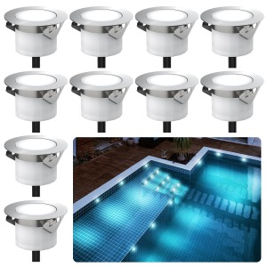 Chesbung Led Decking Lights Waterproof Lighting for Terrace/Patio/Path/Wall/Garden/Decoration (10pcs-Cool Lights)
