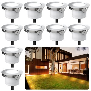 Chesbung Led Decking Lights Waterproof Lighting for Terrace/Patio/Path/Wall/Garden/Decoration (10pcs-Warm Lights)