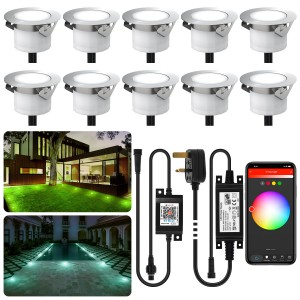 Chesbung Led Decking Lights RGB, 12V Ø45mm H26mm with TUYA App Change Colours IP67 Waterproof Lighting for Terrace/Patio/Path/Wall/Garden/Decoration 10PCS