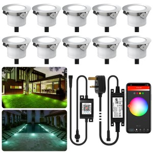 Chesbung Led Decking Lights RGB,12V Ø45mm H26mm with TUYA App Change Colours IP67 Waterproof Lighting for Terrace/Patio/Path/Wall/Garden/Decoration 10PCS