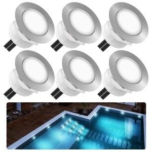 Chesbung Led Decking Lights Waterproof Lighting for Terrace/Patio/Path/Wall/Garden/Decoration (6pcs-Cool Lights)