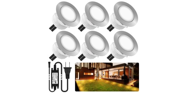 Chesbung Led Decking Lights Waterproof Lighting for Terrace/Patio/Path/Wall/Garden/Decoration (6pcs-Warm Lights)