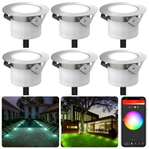 Chesbung Led Decking Lights RGB,12V Ø45mm H26mm with TUYA App Change Colours IP67 Waterproof Lighting for Terrace/Patio/Path/Wall/Garden/Decoration 6PCS