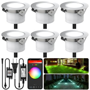 Chesbung Led Decking Lights RGBW,12V Ø45mm H26mm with TUYA App Change Colours IP67 Waterproof Lighting for Terrace/Patio/Path/Wall/Garden/Decoration 6PCS