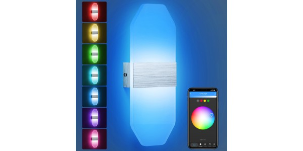Smart Led Wall Sconces, RGB Stepless Dimming LED Wall Sconces with Bluetooth WiFi Voice Control Hardwired Wall Mounted Wall Lights for Bedroom Bathroom Porch Hallway Hotel Cafe (1-Pack)