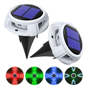 2 Pack Solar Deck Lights Driveway Dock Lights Outdoor Waterproof LED Solar Powered - Solar Ground Disk Lights for Pathway Step Stair Lawn Garden Yard In-Ground(RGB Color)