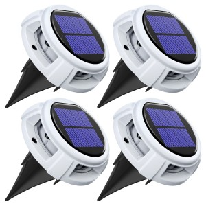 4 Pack Solar Deck Lights Driveway Dock Lights Outdoor Waterproof LED Solar Powered - Solar Ground Disk Lights for Pathway Step Stair Lawn Garden Yard In-Ground (White Color)
