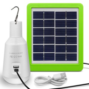 Solar Lights Outdoor, Rechargeable Solar Panel Powered LED Lamp 7W E27 560LM 2600mAh Portable LED Light for Camping Emergency Tent Home (Not Waterproof) [Energy Class A++]