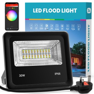 RGB Flood Lights,Tuya APP Control, ,300W Equivalent RGB Led Outdoor Lights Colored Floodlight with tuya APP,30W 2700LM Music Mode Timing Wall Light Stage Lights Landscape Lighting (30W)